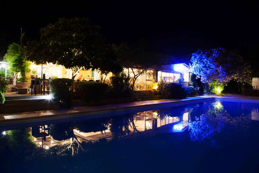 Camping Arutoli Pool Night-time, Corsica